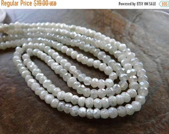 53% off Weekend Sale... white silverite faceted Rondelles/ 4mm/ 13 inch strand
