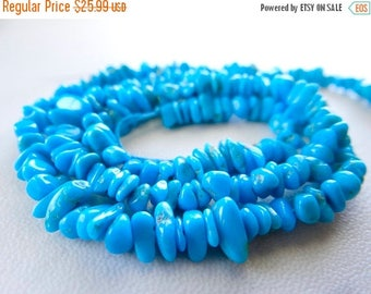 50% OFF SALE-- Natural sleeping beauty Turquoise chip nugget beads/5x2-8x3mm/8.5 inch strand
