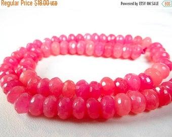 59% End of Summer Sale-- Bubble gum pink Quartz faceted rondelles/8mm/14 inches long