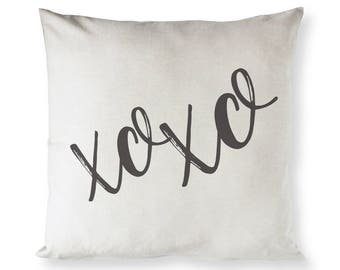 Cotton Canvas XOXO Home Decor Pillow Cover, Pillowcase, Cushion Cover and Decorative Throw Pillow, Love Gift, Valentine's Day Gift, DIY Gift