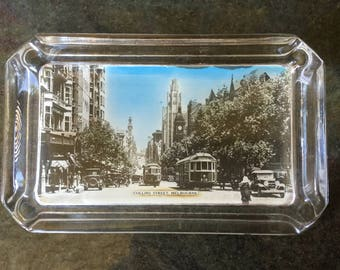 Melbourne souvenir glass ashtray Collins St Melbourne Vintage ashtray Australia souvenir Vintage gift Collectibles
