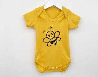 Bee Baby Grow Yellow Bodysuit Bumble Print New