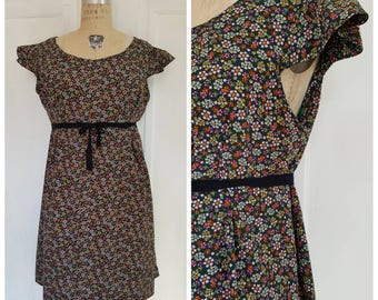 Vintage 70s forest green floral day dress, summer dress with frilled sleeves, flower dress, size XL extra large