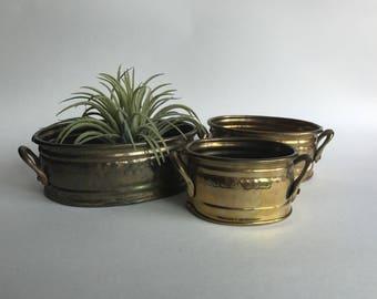 Brass Planter Trio | Set of Small Brass Planters | Brass Planter Set | Hammered Brass Planters