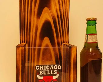 Rustic wooden bottle opener, Chicago Bulls or Your Pro Basketball team choice