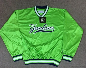 VTG Starter New York Yankees Neon Green Pullover Jacket Adult XL NWT