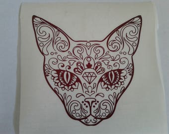 Sugar Skull Cat Decal