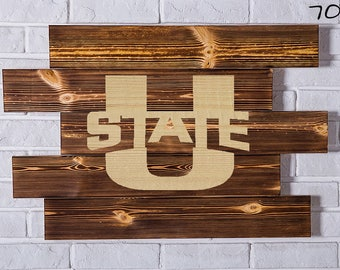 UTAH State AGGIES Wood Sign Wall art Gift Birthday Party wooden