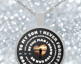 Father Son Necklace - Never Forget I Love You - Gold/Silver Chain Round Pendant