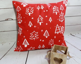 Christmas cushion cover, red and white Xmas festive decorative pillow cover, Christmas tree cushion cover, square 18 inch  cushion cover