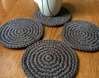 Crochet Coasters - Set of 4 Coasters - Mug Rugs - Round Coasters - Modern Coasters - Soft Coasters - Choose Color