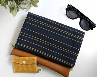 Navy and Gold Striped Fold-Over Clutch