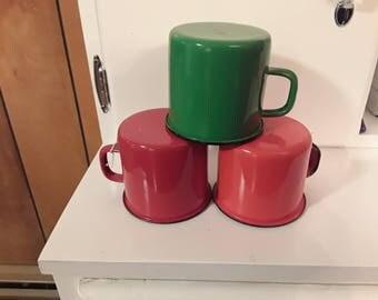 ENAMEL WARE Granite Ware Mugs Set of 3 Orange, Red, Green made in Poland