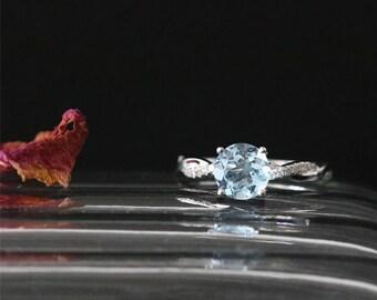 Twist Ring Natural 7mm Round Cut Aquamarine Engagement Ring Birthstone Ring Gemstone Ring Bridal Ring Stackable 14K White Gold Promise Ring