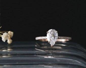 C&C Brilliant Moissanite Engagement Ring 9*6mm Pear Cut Forever Classic Moissanite Ring Half Eternity Diamond Ring 14K Rose Gold Bridal Ring