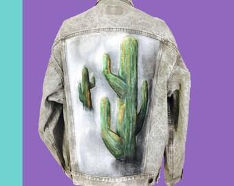 Custom Painted Denim Jean Jacket Cactus Desert Southwest Levis Gray Acid Stone Washed Boxy Large 80s North Carolina Artist Isabel Ramirez