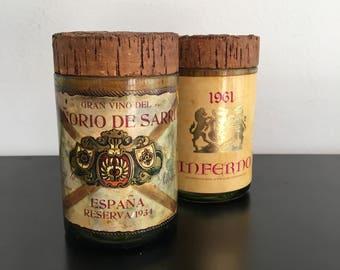 Vintage, Spanish Wine Bottle Jars,Hand Made Glass Canisters,Re-purposed Wine Bottles,Wine Bottle Decor, Kitchen Decor,Glass Jars, Cork Lids