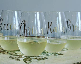 Glass Stemless Wine Glass- Single Name