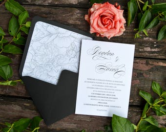 Wedding Invitation Suite, Floral Hand Drawn Wedding Invites, Black and White Floral Calligraphy Invitation