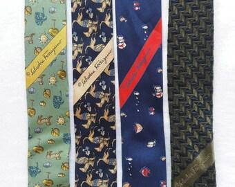 Lot of 4 Vintage SALVATORE FERRAGAMO Men Silk Neck Tie Made in ITALY