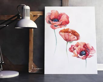 Watercolor floral wall art, red poppy painting, abstract poppies minimalist painting, poppy illustration, red flowers art print home decor