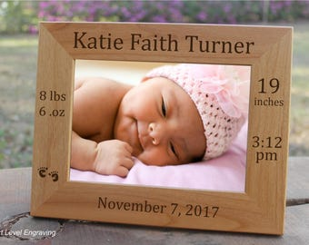 Baby keepsake etsy baby picture frame baby keepsake gift personalized baby stats photo frame new baby gift negle Gallery