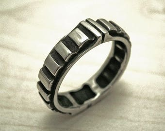 Mens ring, unique wedding band, sterling silver band ring,wedding silver band ring,oxidized silver mens ring,