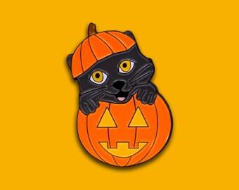 Pumpkin Kitty Enamel Lapel Pin