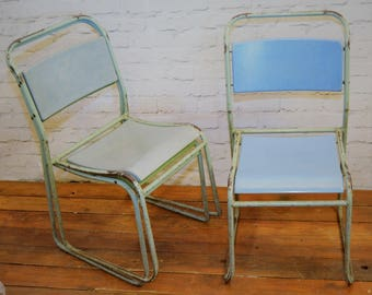 2 available Sebel nest a Bye industrial metal chairs vintage restaurant cafe interior design stacking retro