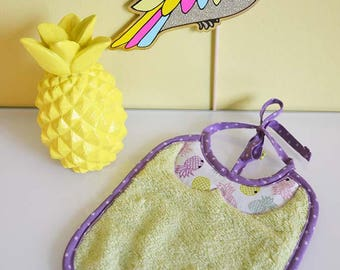 """Terry bib """"pineapple neon pink and green"""""""