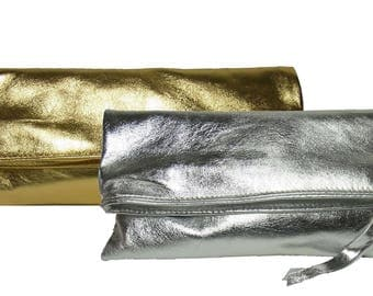 CLUTCH from leather silver or gold handbag evening bag