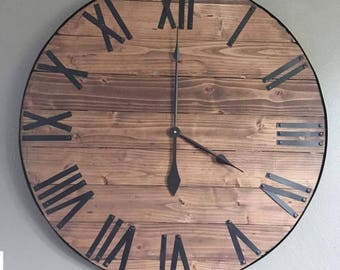 "30"" Large Farmhouse Clock, Oversized Wall Clock, Farmhouse Wall Decor, Rustic Clock, Rustic Decor, Farmhouse Decor, Wood Clock, Large Clock"