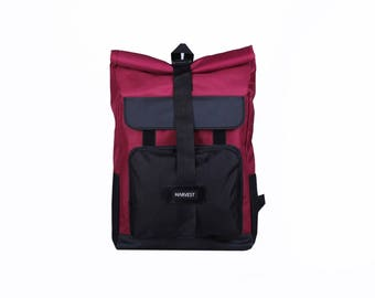 Waxed Canvas Backpack,Canvas Rucksack,Men's Backpack,Travel Backpack,Burgundy Backpack,Laptop Backpack,Roll top Backpack,Waterproof Backpack