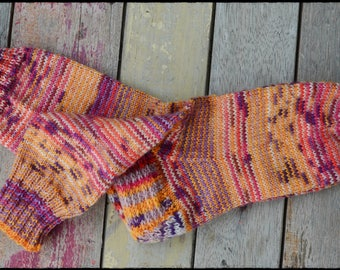 "Hand knit socks women's size UK 4,5-6, US 7-8 ""HappyScrappyStile"""