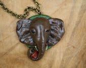 Elephant animal necklace, polymer clay jewelry