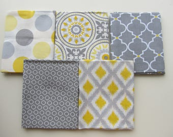 Fabric Bundle 5 Fat Quarters FQ Yellow Gray Diamonds Circles Dots Quertrefoil Medallions Emma & Mia Cotton