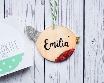 Children's christmas decoration, personalised decoration, wooden xmas decoration, glitter xmas decoration, handpainted, bird decoration