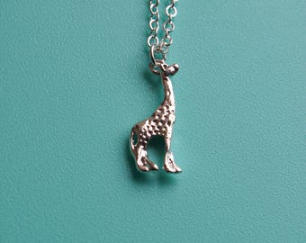 Silver plated giraffe necklace / silver giraffe pendant / animal necklace /