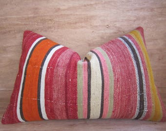 decorative pillow,kilim pillow,16x24,home living,home decor,vintage,pillow,bohemian pillow,handwoven pillow,throw pillow,accent pillow