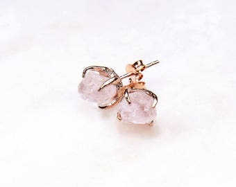 Rose Gold Rose Quartz Earrings. Rose Quartz Stud Earrings. Bridesmaid Gift. Bridal Jewelry. Rose quartz bridal earrings. Gemstone earrings.
