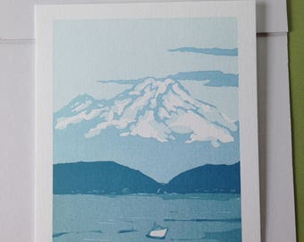 Mt. Rainier, letterpress print