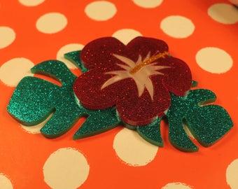 Christmas Red Hibiscus Brooch - lasercut acrylic