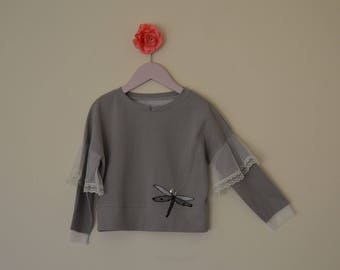 100% cotton girls long sleeve top