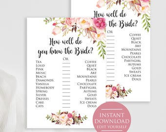 How Well Do You Know the Bride, Boho Bridal Party Game, Printable Bridal Shower Game, bridal shower games printable watercolor floral.