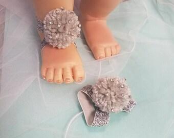 Rhinestone Tinkerbell  Barefoot baby Sandals  Baptism, Birthday , Photo prep, Baby Shoes  . S-093