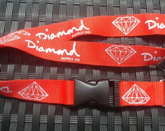 Diamond Lanyard Red with White Print High Quality