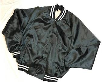 Vintage Satin Navy - Bomber jacket - Large