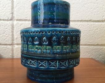 Vintage Aldo Londi Bitossi Rimini Blue Vase (Italy)