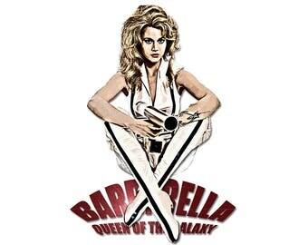 T-SHIRT: Barbarella / Jane Fonda - Classic T-Shirt & Ladies Fitted Tee - (LazyCarrot)
