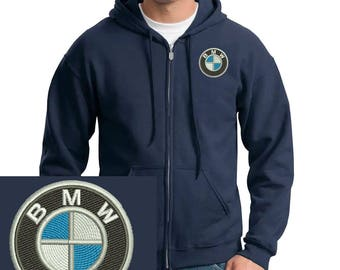 Bmw Logo Emboidered Hoodie Navy Full-Zip Hooded Sweatshirt New